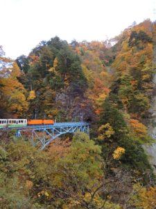 後曳橋を渡るトロッコ電車