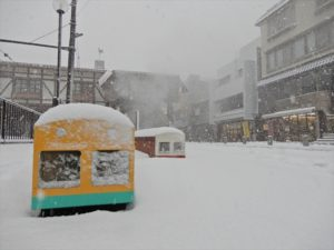 冬の宇奈月温泉街