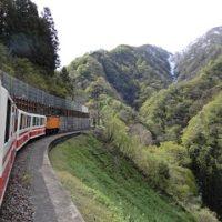 新緑の山々とトロッコ電車