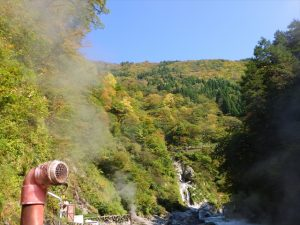 噴き出す蒸気と紅葉