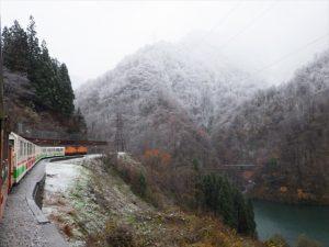 雪景色とトロッコ電車