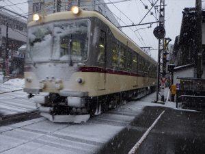 雪化粧の電車